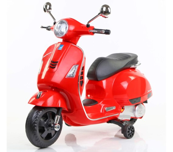 12V Vespa Rechargeable Battery Operated Ride-on Scooter for Kids (3 to 7 Years) Double Batteries. Red