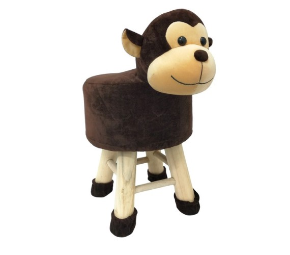 Wooden Animal Stool for Kids (Monkey) | with Removable Soft Fabric Cover Chair(Brown)