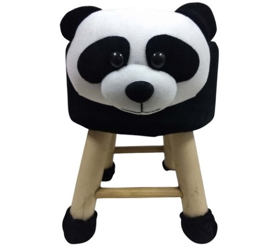 PP INFINITY Kids Wooden Animal Stool,Chair for Kids (Panda)with Removable Soft Fabric Cover Chair,Stool For Kids