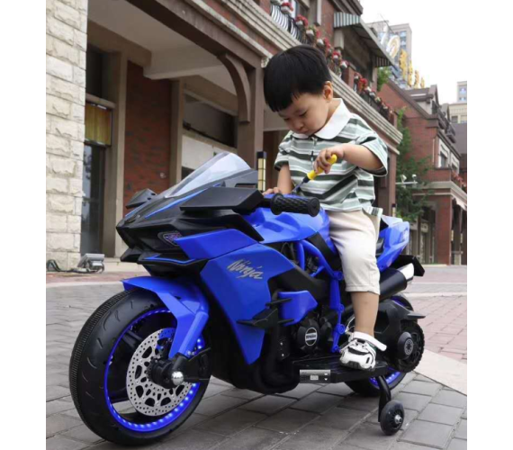 Ninja H2 Sports Battery Operated Ride On Bike For Kids, Hand Accelerator with Music System (Blue)