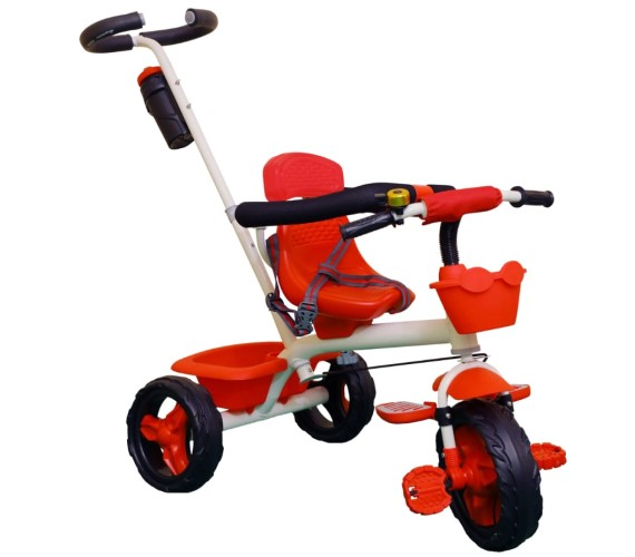 Kids Girls & Boys Tricycle With Push Bar, Full Metal Frame & Anti-Slip Pedals, 1 to 4 Years, Carrying Capacity up to 25 Kg (Black)