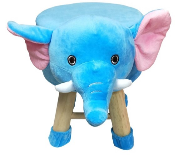Wooden Animal Stool for Kids (Elephant) | with Removable Soft Fabric Cover Chair(Blue)