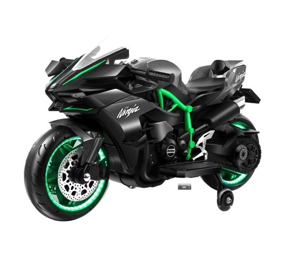 Ninja H2 Sports Battery Operated Ride On Bike For Kids, Hand Accelerator with Music System (Green)
