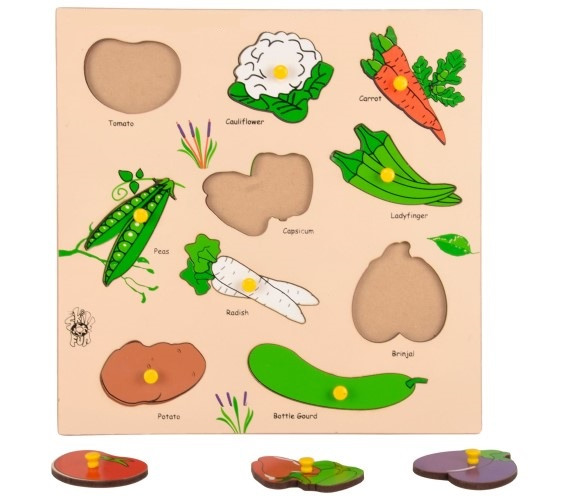 Wooden Educational Vegetables Tray Shape Match Puzzle with Knobs ( MultiColor )