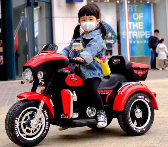 PP INFINITY  12V Battery Ride On Bike, Electric For Kids, Hand Accelerator with Music System (ABM5288)-Red