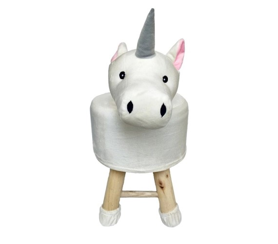 Wooden Animal Stool for Kids (Unicorn Horse) | with Removable Soft Fabric Cover Chair(White)