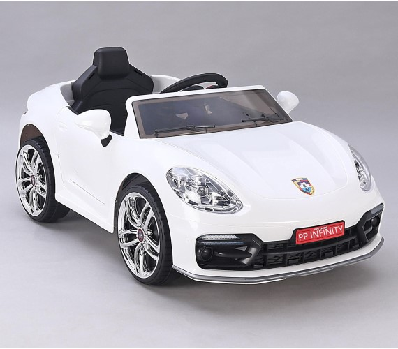 PP INFINITY Porsche 12V Battery Operated Ride On Car For Kids, Model MKS002, Remote control, Lights And Music System (1 To 5 Yrs) White