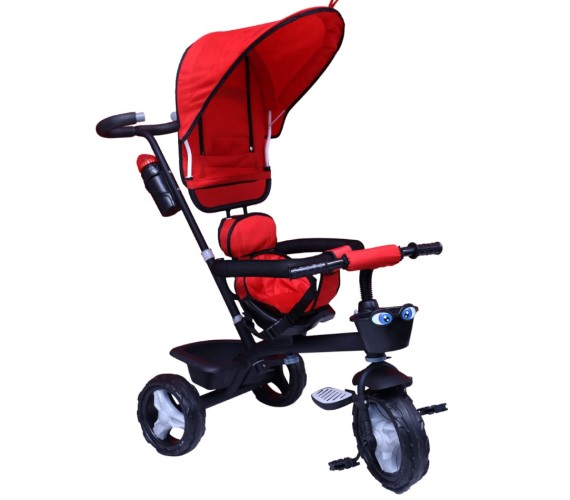 Baby Tricycle For Kids 1-3 Years With Rubber Wheels, Kids Tricycle Parental Control Handle(Red)