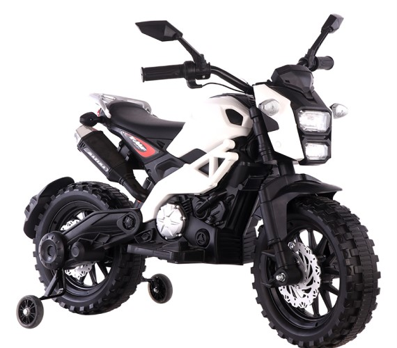 PP INFINITY Kids Battery Operated Ride on Bike For Kids With Hand Accelerator Model  DLS01  White ( 2 To 8 ) Years