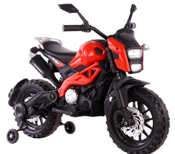 PP INFINITY Kids Battery Operated Ride on Bike For Kids With Hand Accelerator Model  DLS01  Red ( 2 To 8 ) Years