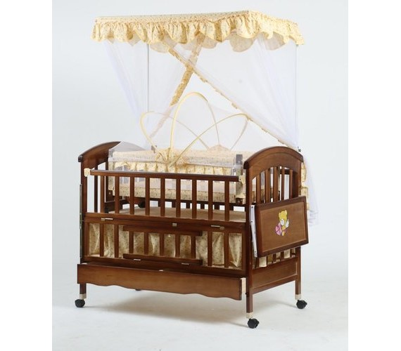 PP INFINITY New Born Baby Wooden Cot Babies For Wooden Cot  (Brown with yellow)