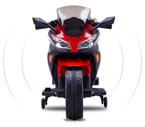 Ninja Battery Operated Ride On Bike For Kids, Hand Accelerator with Music System, Red