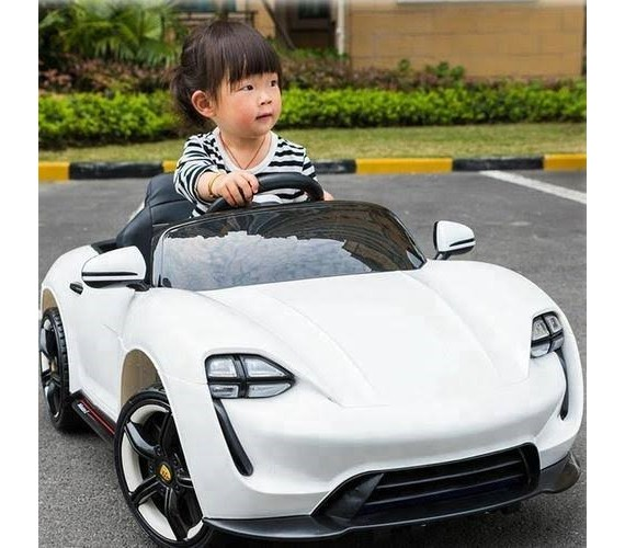 Porsche  For Kids Battery Operated Car | Kids Ride On Car with Remote Control and Music System Electric Ride On Car for kids (white)