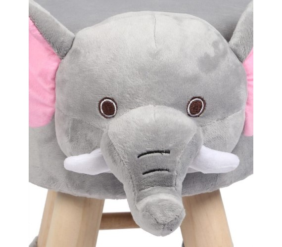Wooden Animal Stool for Kids (Elephant) | with Removable Soft Fabric Cover Chair(Grey)