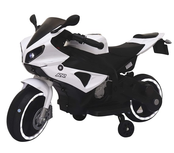 Mini R1 Battery Operated Bike For Kids (Age 2 To 5), Foot Accelerator - Bike For Kids , White