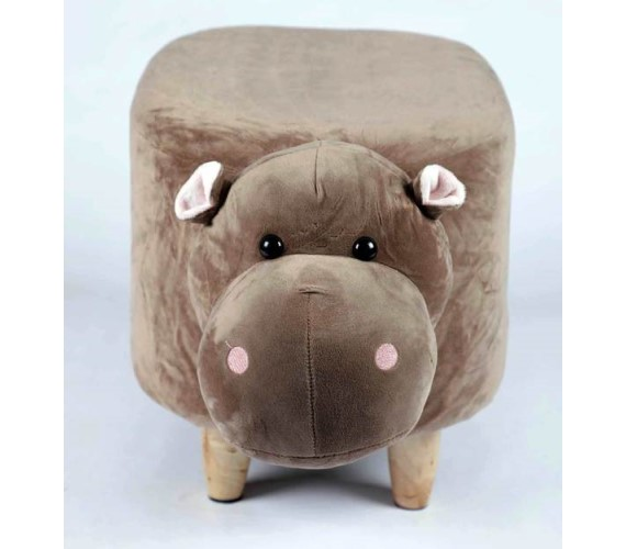Wooden Animal Stool for Kids (Hippo) | with Removable Soft Fabric Cover Chair(Brown)