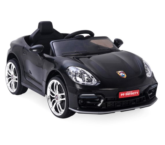 PP INFINITY Porsche 12V Battery Operated Ride On Car For Kids, Model MKS002, Remote control, Lights And Music System (1 To 5 Yrs) Black