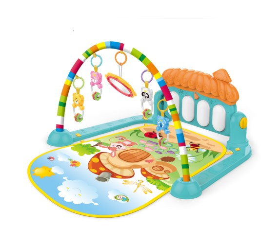 PP INFINITY 2 in 1 Baby Kick and Play Piano Gym Mat Rack Infant Music Fitness Rack Rattle Toy Play Crawling Mat Early Educational Toy for 0-24 Months Babies (Multi Color)