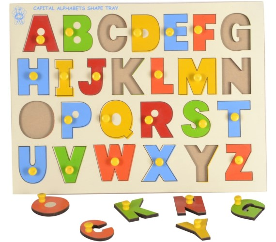 PP INFINITY Wooden English Alphabet Shape Match Puzzle With Knobs, Educational Puzzle for Kids - (Capital Letter)