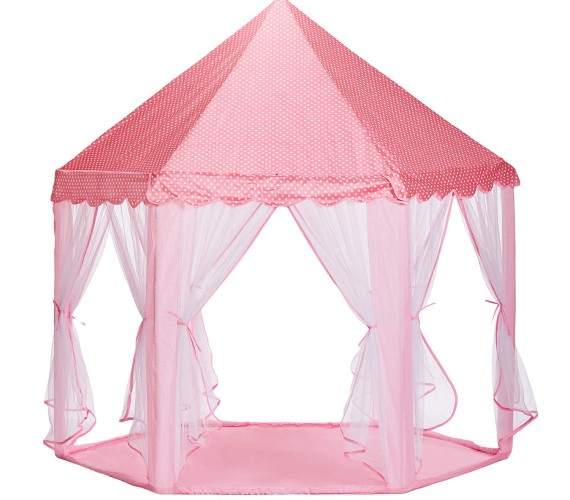 Kids Play Tent House, Indoor and Outdoor Play Tent House, Foldable Polyester Tent with Transparent Walls for 3 to 6 Year Kids (Pink)