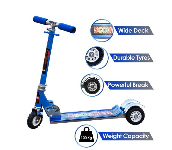 Three Wheel Tractor Scooter For Kids Suitable Age 5 to 10 Years (Blue)