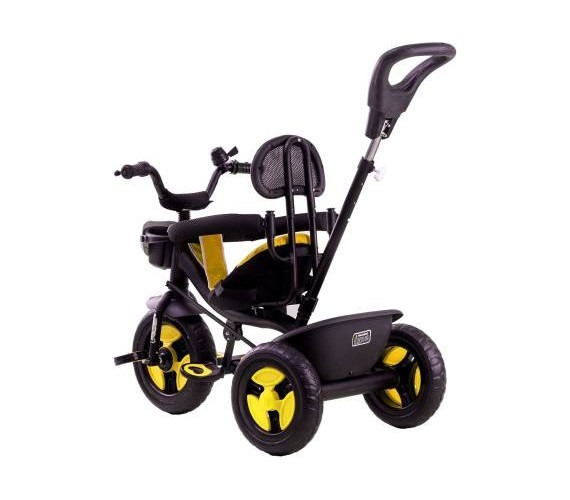 R1 3 in 1 Tricycle For Kids, Baby Tricycle For 1-4 Years With Rubber Wheels, Baby Tricycle Parental Control Handle(Yellow)