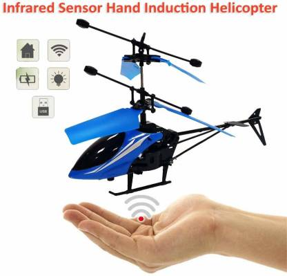 Hand Induction Control Flying Helicopter Toy  (Blue)