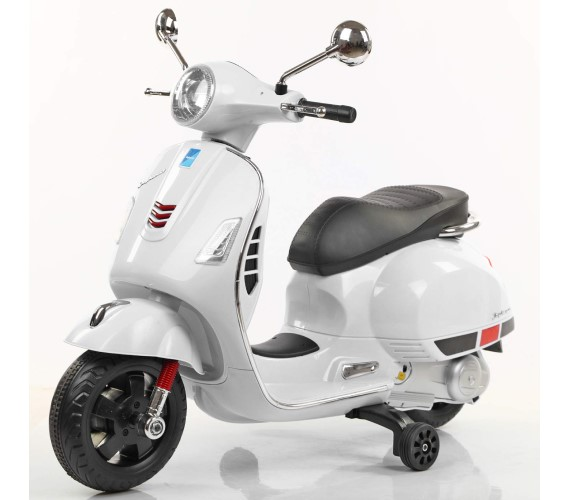 12V Vespa Rechargeable Battery Operated Ride On Scooter for Kids (3 to 7 Years) Double Batteries. White