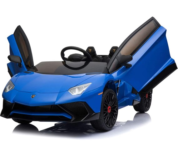 12V Lamborghini Aventador (Licensed) SV Sports Car For Kids, Remote Control, AUX Cable, 2 Speeds, LED Lights, Sounds -Multicolor
