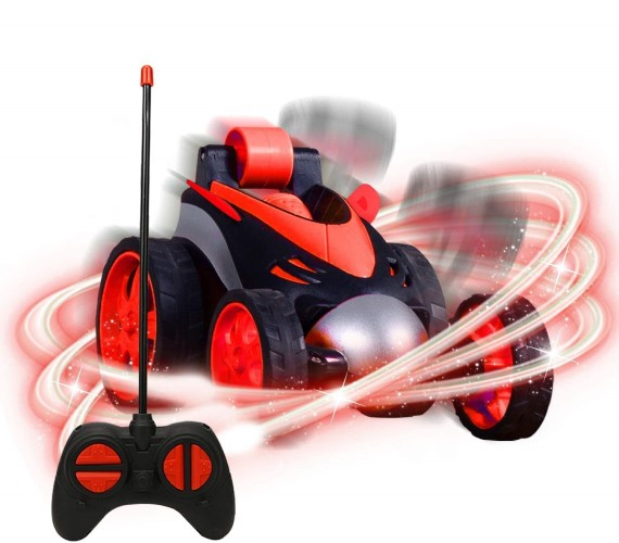 Remote Control Stunt Car For kids, RC Car 360° Rotating Rolling Car, RC Truck Toy for Kids -Red
