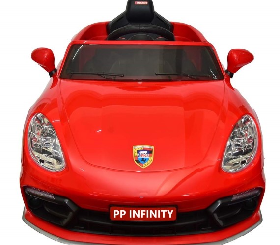 PP INFINITY Porsche 12V Battery Operated Ride On Car For Kids,  Model MKS002, Remote control, Lights And Music System (1 To 5 Yrs)Red