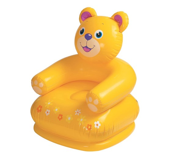 Teddy Bear Shape Chair for Kids,  Plastic Air Chair For Kids (Yellow)