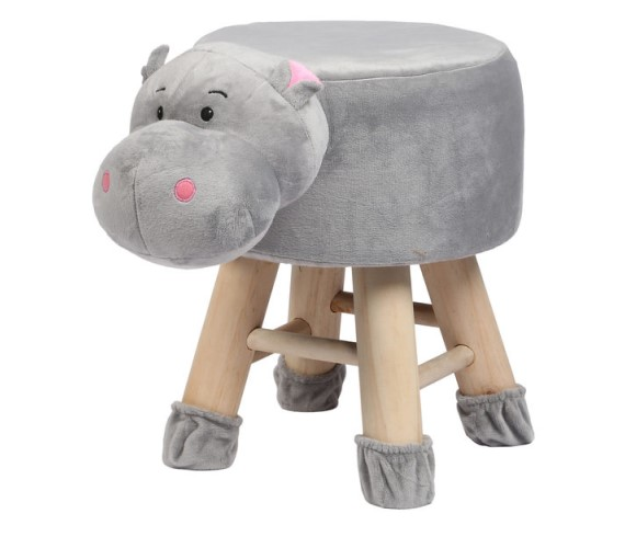 Wooden Animal Stool for Kids (Hippo) | with Removable Soft Fabric Cover Chair(Grey)