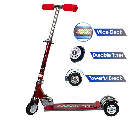 Three Wheel Tractor Scooter For Kids Suitable Age 5 to 10 Years (Red)