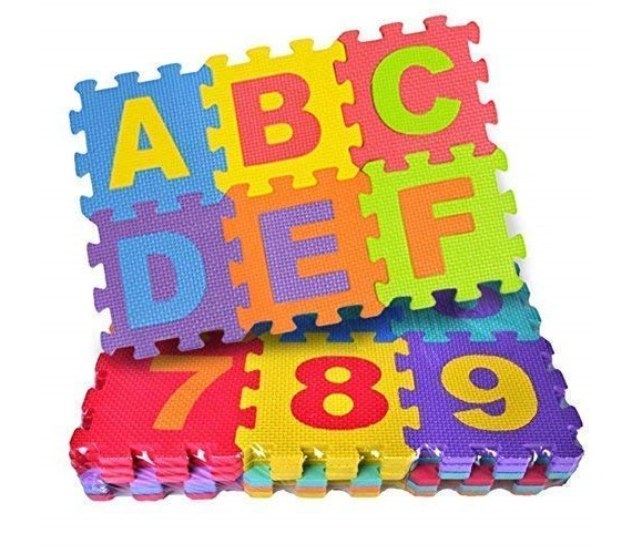 PP INFINITY 36 Pieces Mini Puzzle Foam Mat for Kids, Interlocking Learning Alphabet and Number Mat for Kids
