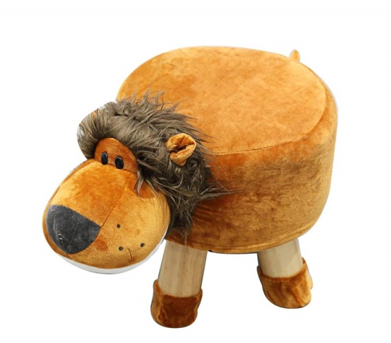 Wooden Animal Stool for Kids (Lion) | with Removable Soft Fabric Cover Chair(Brown)