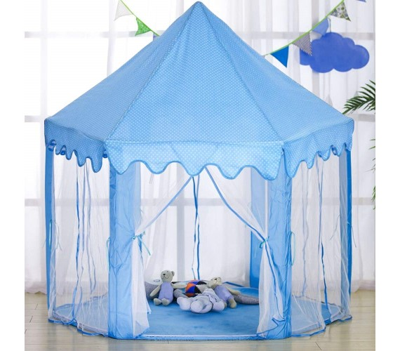 Kids Play Tent House, Indoor and Outdoor Play Tent House, Foldable Polyester Tent with Transparent Walls for 3 to 6 Year Kids (Blue)