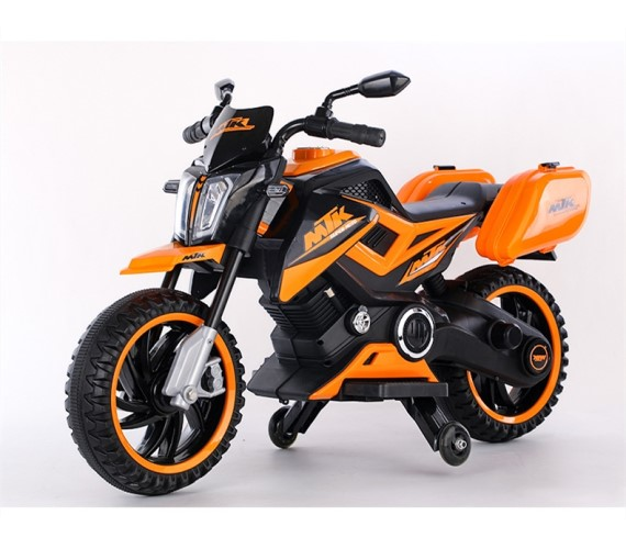 KTM 12V Battery Ride on Bike For Kids, 12V Battery Operated Ride On For Kids With Hand Accelerator And Foot Brake(3-7Yrs)Orange