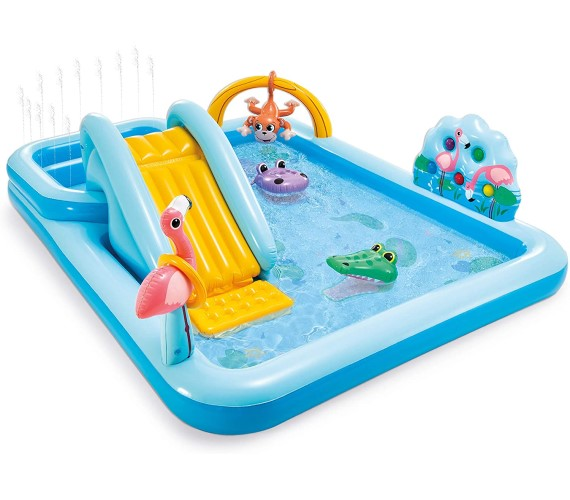 Jungle Adventure Play Center Swimming Pool For Kids,( Garden Water Park) Inflatable Swimming Pool with Free Electric Pump(Multicolor)