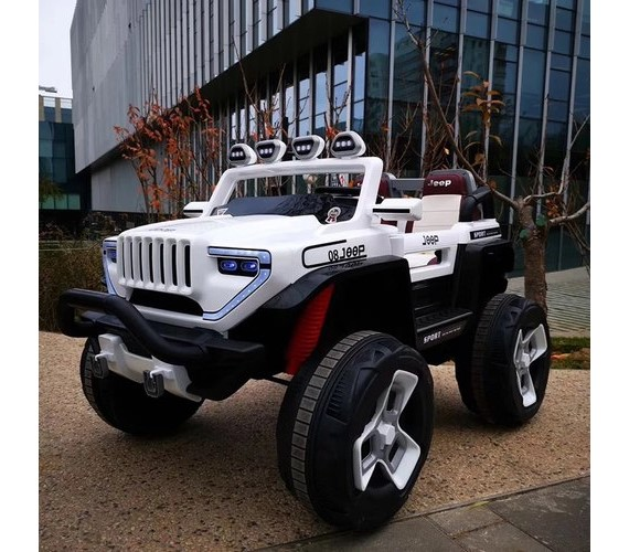 Big Size Hummer jeep for kids, Model 1200 Electric Ride on Jeep , Battery Jeep For Kids with Rechargeable And Music System with Remote Control (2-9 years), White