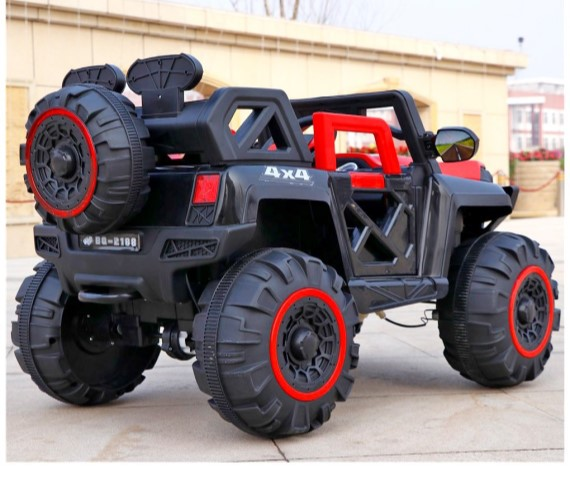 Battery Operated 4x4 Stylish Jeep for Heavy Duty, Maximum Weight Capacity 50kg , 5 Motors. 12v -Large Size- RED