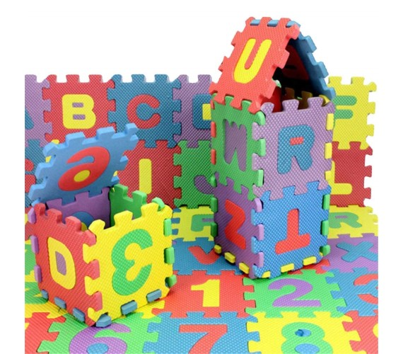 ABC Learning Puzzle Mat Foam 36 Pieces Big Tiles Mat with Alphabets and Numbers for Kids