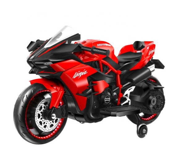 Ninja H2 Sports Battery Operated Ride On Bike For Kids, Hand Accelerator with Music System (Red)