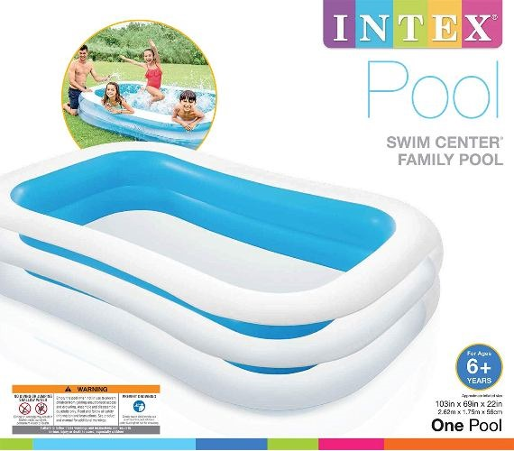 6 feet Swimming Pool, Inflatable Rectangular Swimming Pool for kids with pump