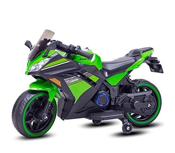 Ninja Battery Operated Ride On Bike For Kids, Hand Accelerator with Music System (Green)