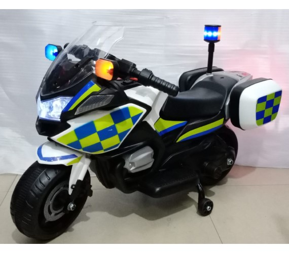 Police Bike For Kids Small Size, Model 608 - Kids Police Bike 6V Single Battery Operated (2-4yrs) White