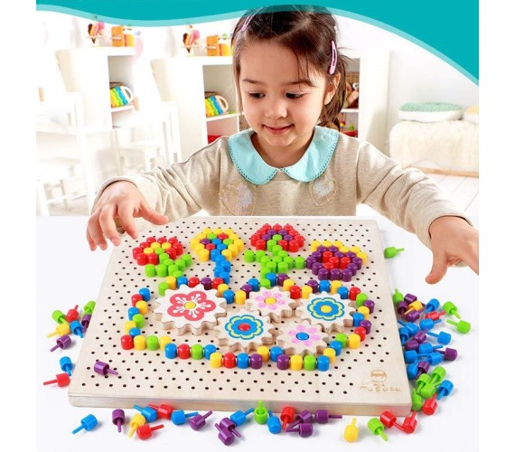 PP INFINITY Wooden Pixel Button Art Toy Set for Kids (Multicolor)