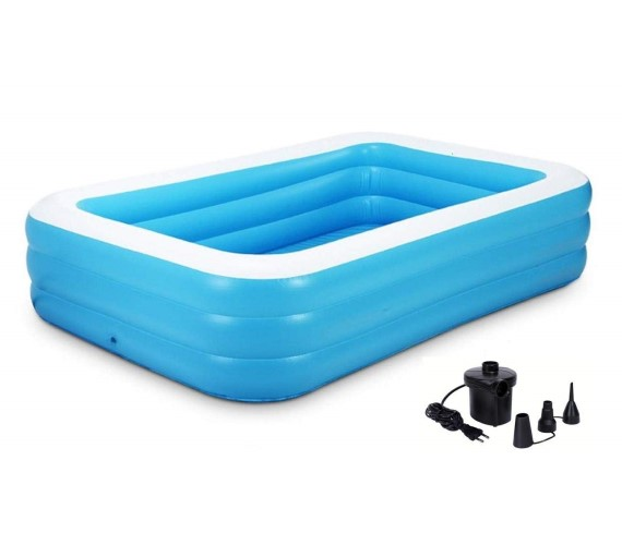 10 Feet Swimming Pool For Kids/Adults(SPA) Inflatable Swimming Pool(with Free Electric Pump)-Sky Blue