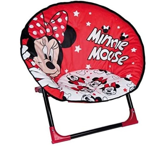 PP INFINITY Minnie Mouse Moon Chair For Kids Portable Folding Picnic and Home Used Chair for Boys & Girls-Red