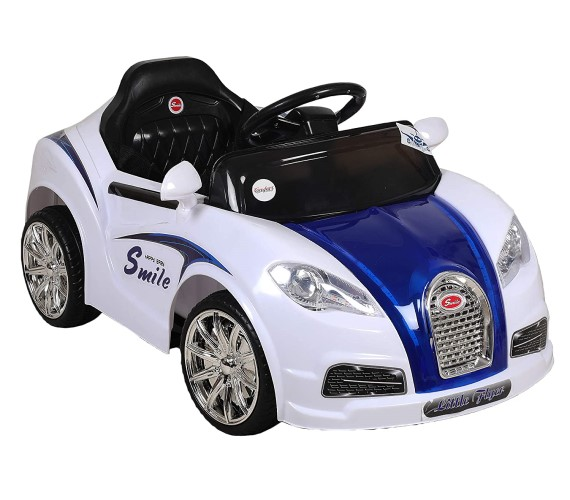 Smiley Kids Battery Ride on Car For Kids With 12V Rechargeable Battery, Remote Control With Music System-White